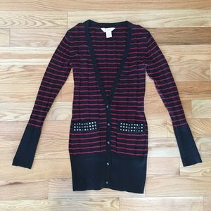 Black & Red Cardigan with Studs